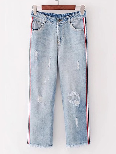 Side Striped Tape Ripped Jeans