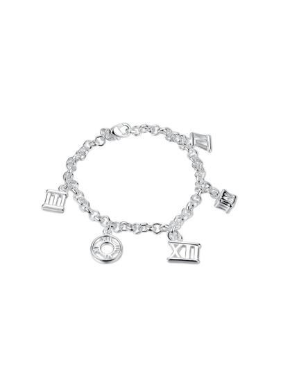 Roman Numerals Detail Charm Link Bracelet