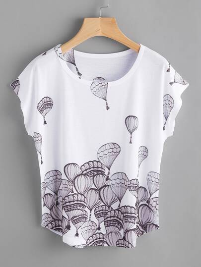 Hot Air Balloon Print Batwing Tee