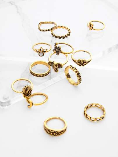 Crown And Flower Design Ring Set 13pcs