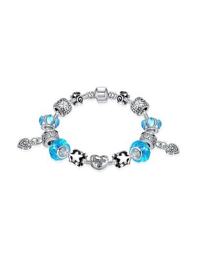 Contrast Crystal Heart Charm Bracelet