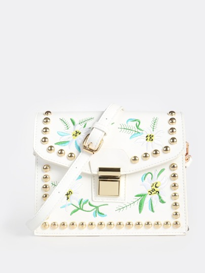 Embroidered Stud Clutch Bag WHITE