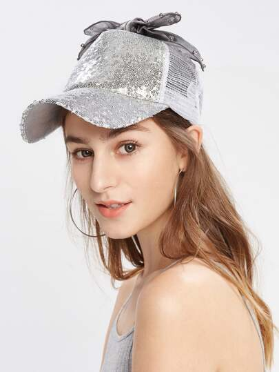 Bow Detail Sequin Baseball Cap