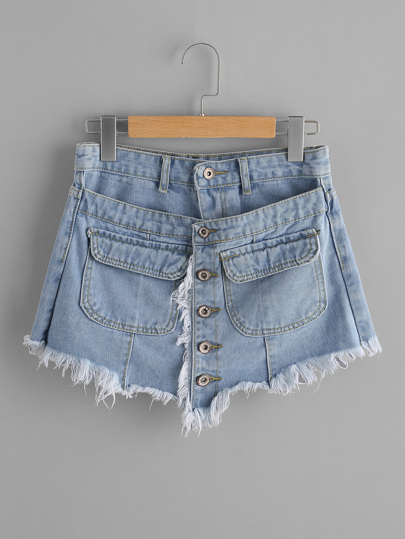 Double Layer Frayed Hem Denim Skort