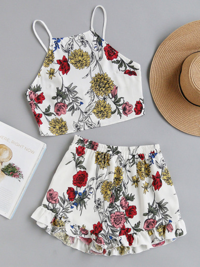 Tie Back Cami Top And Ruffle Trim Shorts Co-Ord