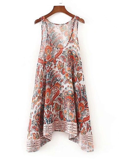 Sequin Embellished Hanky Hem Tank Dress