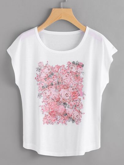 Tee-shirt manche dolman imprimé des roses