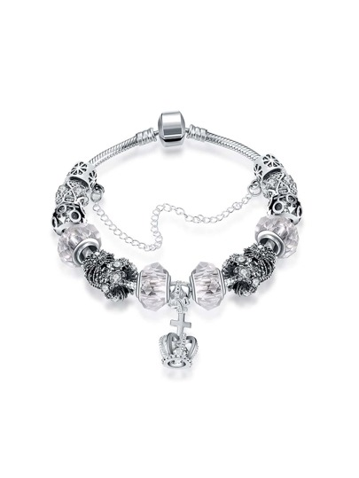 Crown Detail Charm Bracelet With Crystal