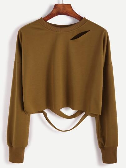 Khaki Drop Shoulder Cut Out Crop T-shirt