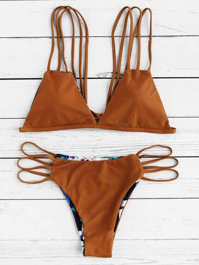 Ladder Cutout Strappy Reversible Bikini Set