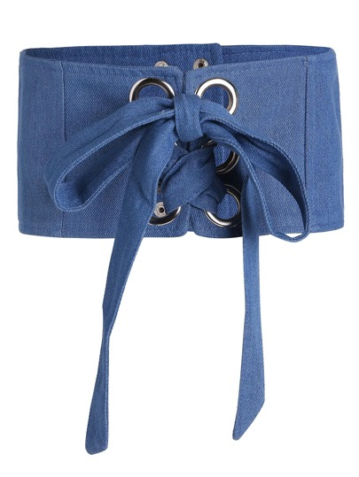 Eyelet Lace Up Denim Corset Belt