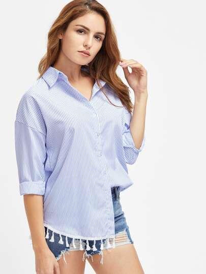 Blusa de rayas verticales con hombros caídos