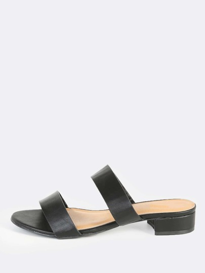 Double Band Mules BLACK