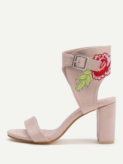 Flower Embroidery Ankle Cuff Block Heeled Sandals