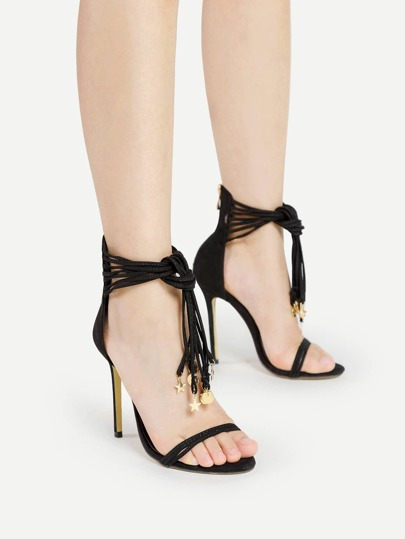 Metal Star Detail Stiletto Sandals