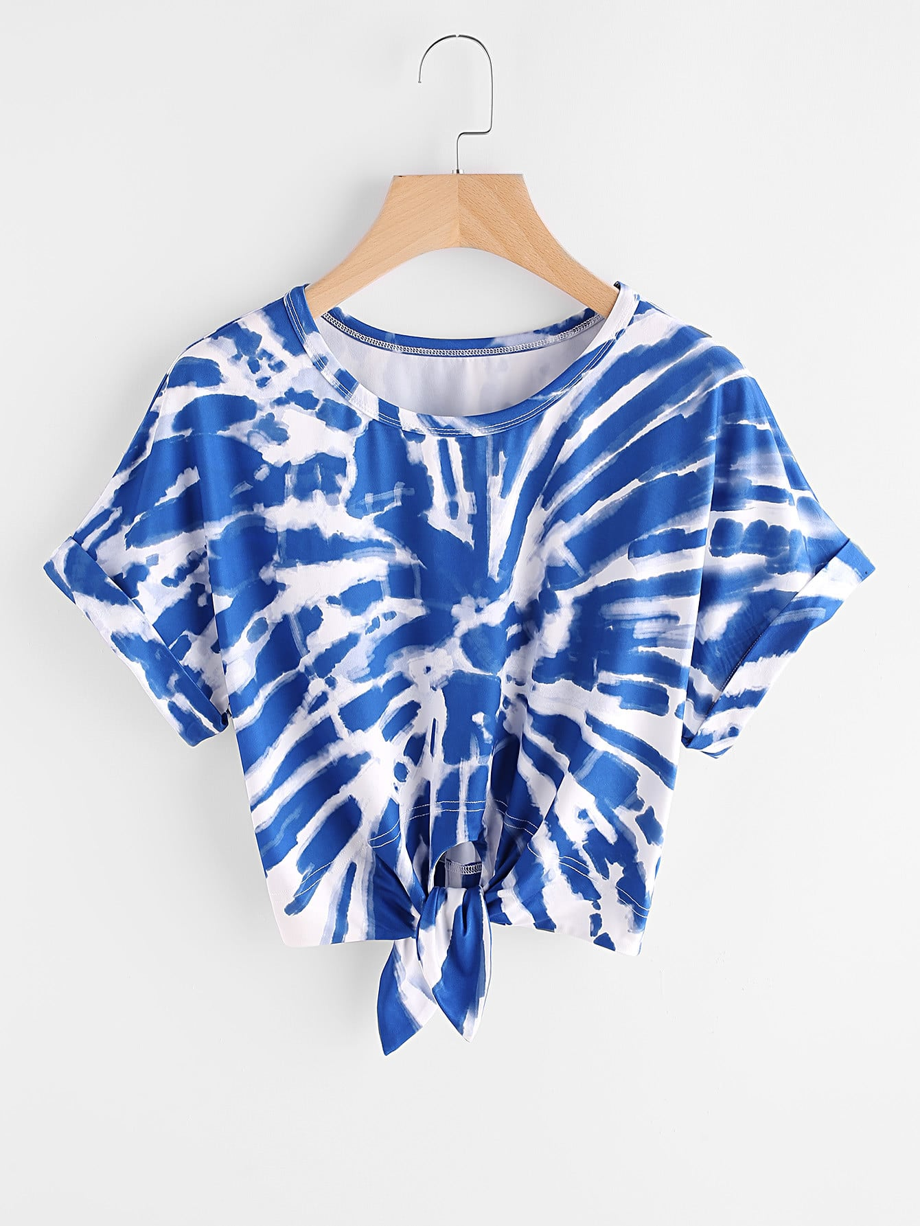 Cuffed sleeve knot front tie dye t shirtfor women romwe for Types of tie dye shirts