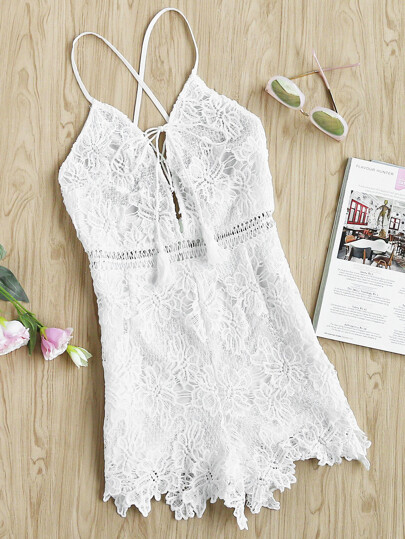 Halterneck Lace Up Front Lace Playsuit