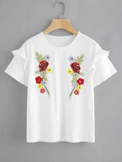 Symmetric Flower Embroidered Frilled Sleeve T-shirt