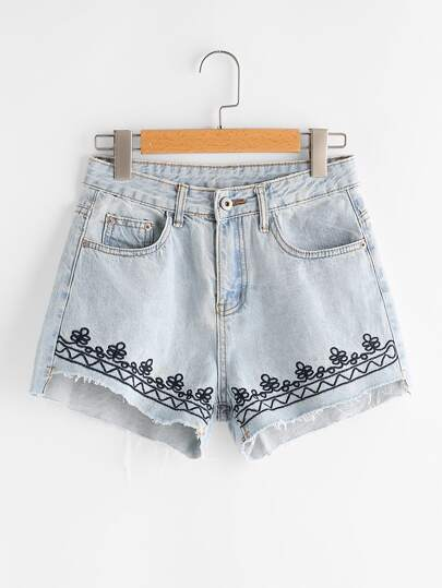 Bleach Wash Embroidered Raw Hem Denim Shorts