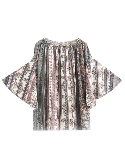 Boat Neckline Bell Sleeve Tribal Print Top