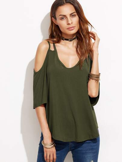 Strappy Cold Shoulder T-shirt
