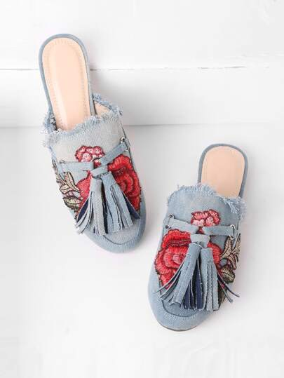 Raw Trim Flower Embroidery Denim Loafer Mules