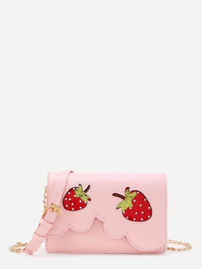 Sequin Strawberry Design Crossbody Bag With Faux Pearl