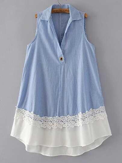 Contrast Crochet Trim Sleeveless Dress