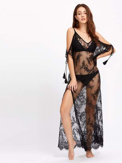 Tasseled Tie Sleeve Side Slit Lace Nightdress