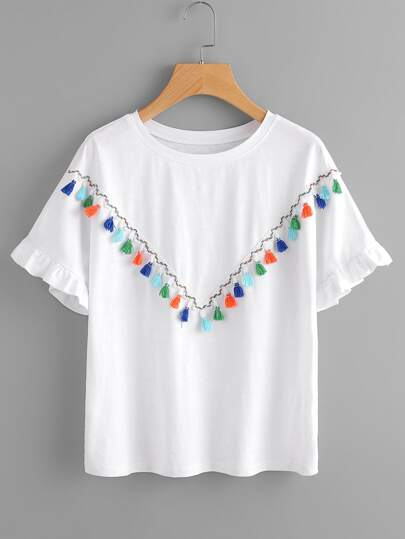 Colorful Tassel Trim Frilled Sleeve Tee