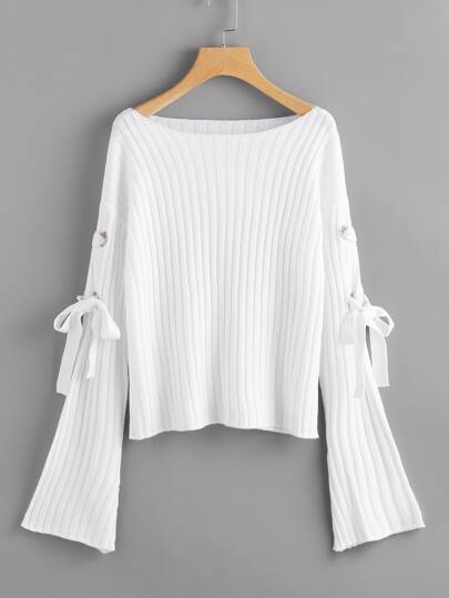 Jersey de canalé con cordones