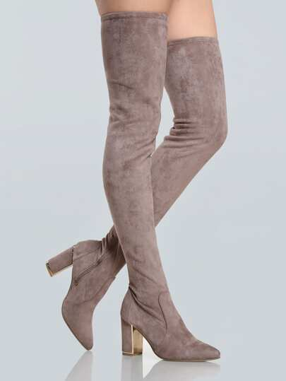 Point Toe Suede Thigh High Booties TAUPE
