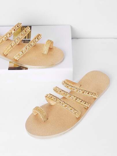Sandales brillant à fond plat avec lacets et chaîne