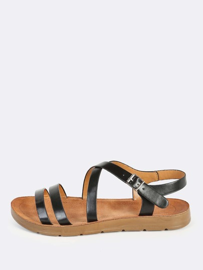 Faux Leather Instep Sandals BLACK