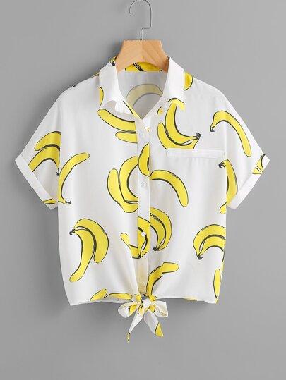 Banana Print Knot Front Blouse