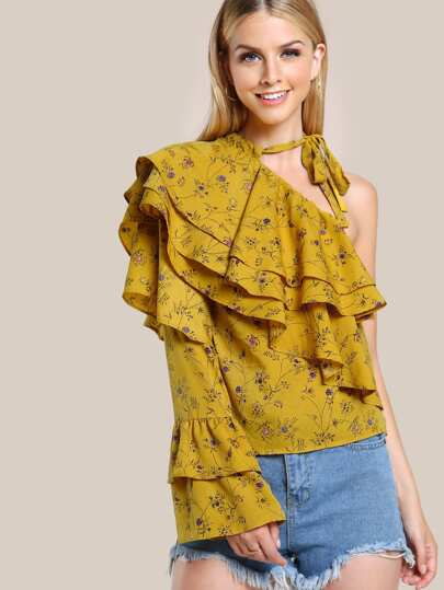 One Shoulder Layered Ruffle Botanical Top