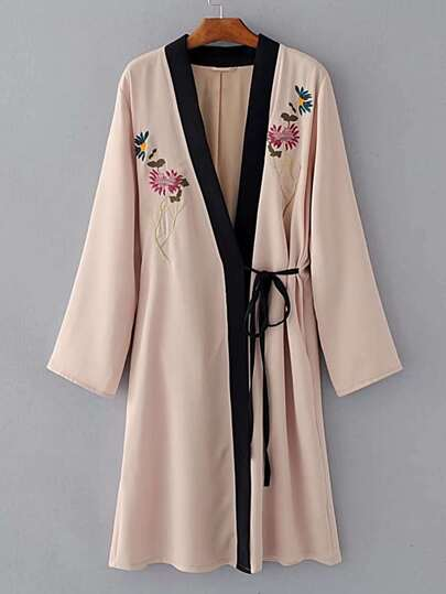Contrast Placket Lace Up Detail Embroidery Kimono