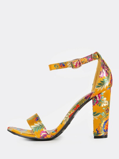 Oriental Floral Ankle Strap Heels YELLOW