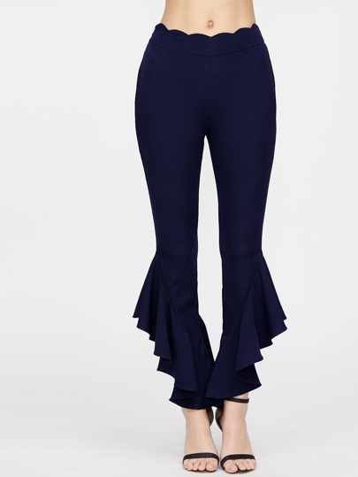 Scallop Waist Asymmetric Hem Flared Pants