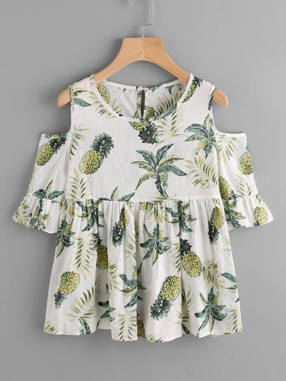 Jungle Print Open Shoulder Frill Cuff Smock Blouse