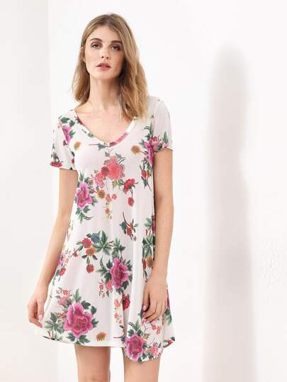 Flower Print Pleated Dress