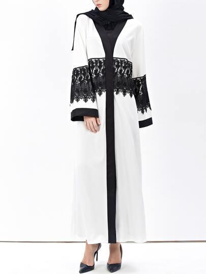 Contrast Trim Crochet Lace Embellished Abaya