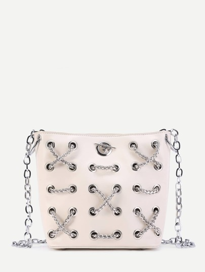 Criss Cross Chain Decorated PU Crossbody Bag
