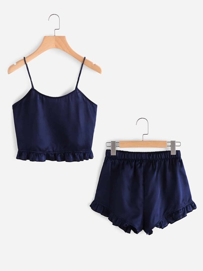 Camisole mit Falten und Shorts Pajama Set
