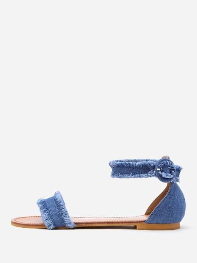 Raw Trim Denim Flat Sandals