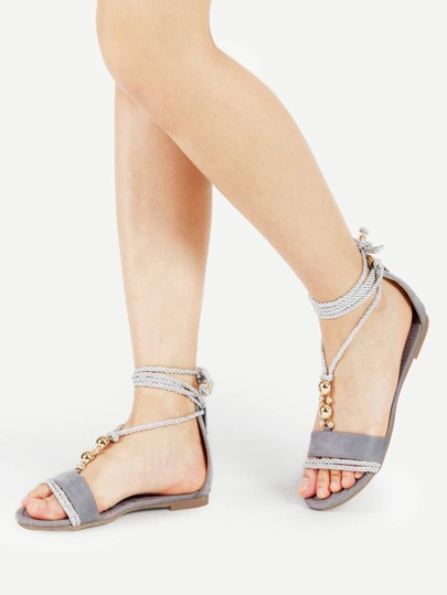 Rhinestone Detail Ankle Wrap Flat Sandals