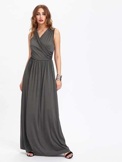 Surplice Neckline Full Length Dress