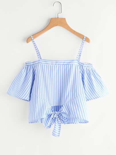 Contrast Striped Knotted Hem Top