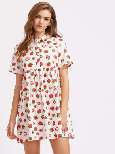 Allover Strawberry Print Half Placket Babydoll Dress