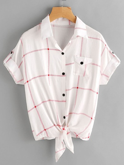 Checked Knot Front Cuffed Shirt With Chest Pocket